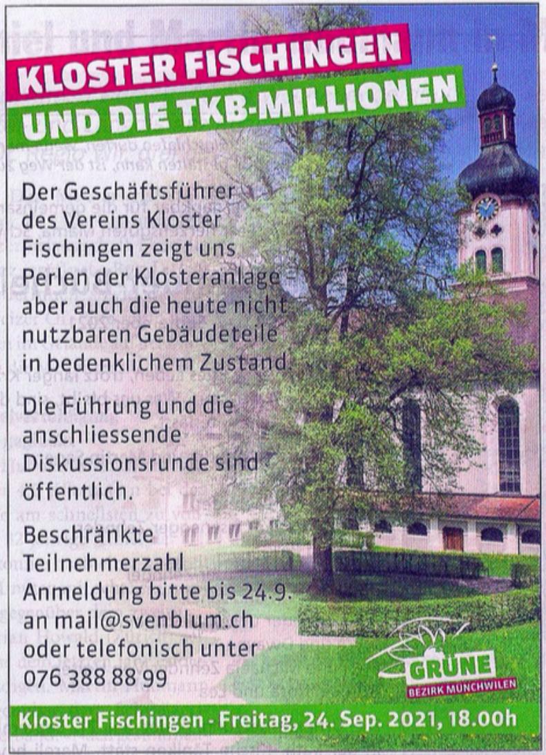 Inserat Kloster Fischingen
